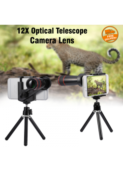 Universal 12X Optical Telescope Camera Lens & Tripod for Mobile Phones
