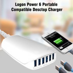 Logon Power 6 Portable Compatible Desctop Charger, 5.4A, Logon-6