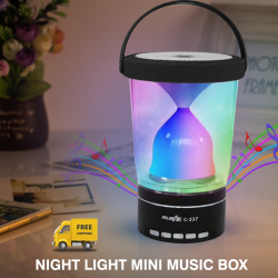 Night Light Mini Music Box, Three Brightness Colorful Touch Lamp,  C-337