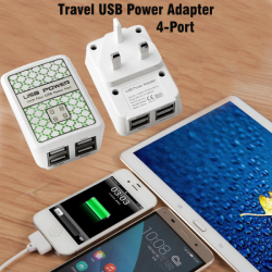 Travel USB Power Adapter, 4-Port, US845
