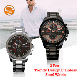 2 pcs Curren Trendy Design Stainless Steel Watch For Men, 8274, Black