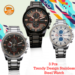 3 Pcs Curren Trendy Design Stainless Steel Watch For Men, 8274, Black