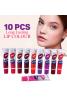 Sweet Rose Wow Long Lasting Peel-Off Lip Gloss 10  Pcs, Multicolor, LP1001