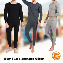 Buy 6 In 1 Bundle Offer 3 Piece Underwear Top, 3 Piece Bottom Male Crew Neck Long Johns Long Sleeve Pajama Set, 9027